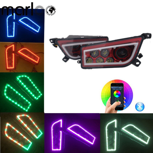 Marloo ATV Polaris RZR Led Headlights RGB Halo Ring Chasing Many Colors Changing by Bluetooth App Control Headlight For Polaris