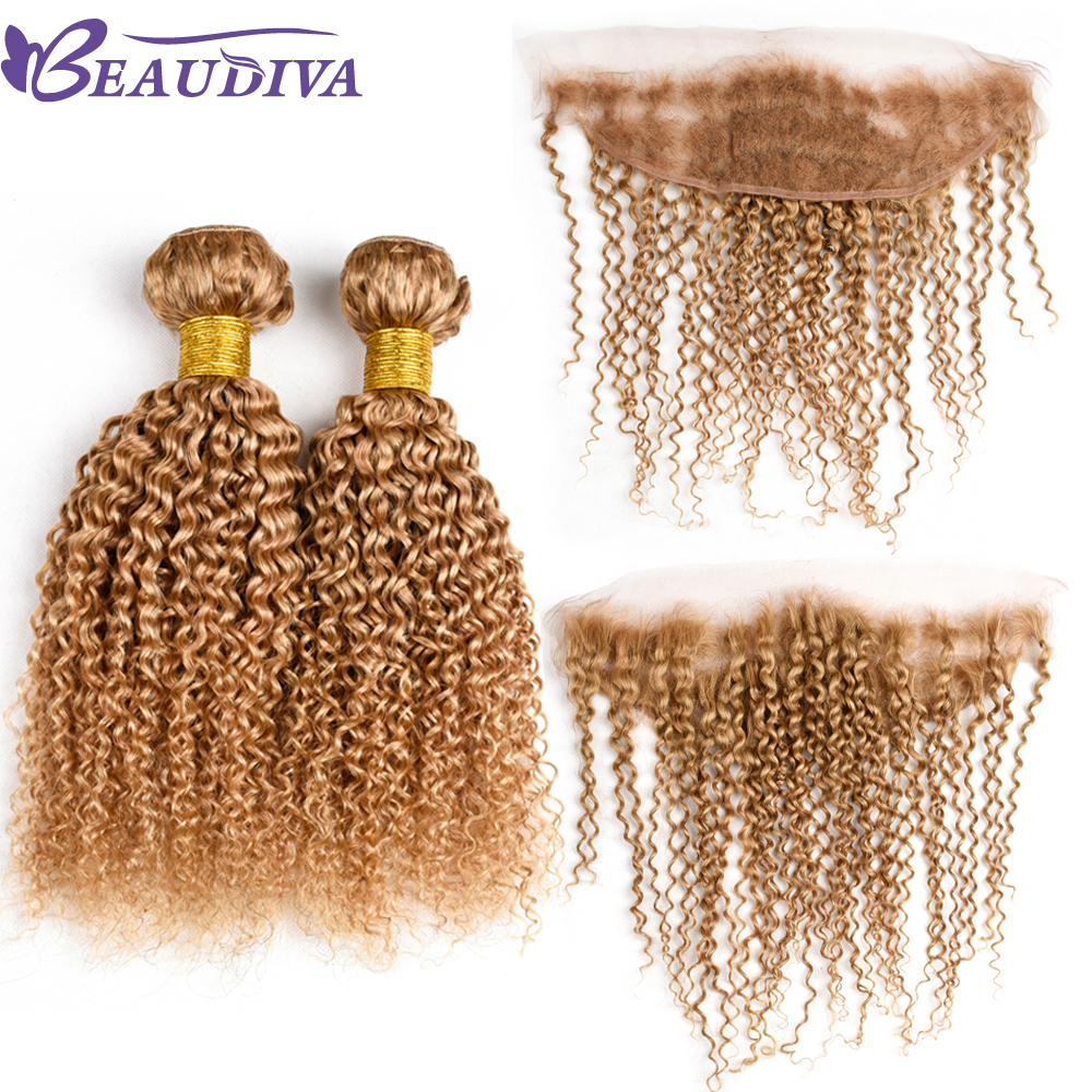 Beaudiva Hair Human Hair Bundles Brazilian Kinky Curly Hair Weave 2 Piece 10-26 Inches Remy 27# color Hair Free Shipping