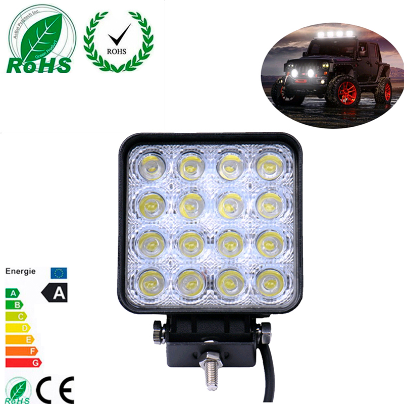 2Pcs 48W High Power Square Car Offroad LED Working Light Off Road LED Work Lamp with 16*3W Bead LED for Truck ATV Boat Worklight 19inch 40w 6500k ip67 4000lm car led high power working light headlights for truck outdoor work lamp