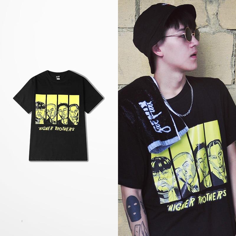 Original Tide Brand Summer Men T Shirt Hip Hop Fashion Design Higher Brothers Cartoon Four People Print Tee Shirt Homme As Size
