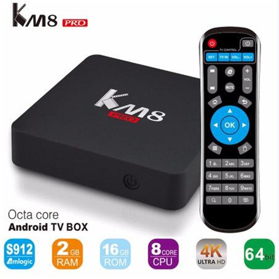 KM8 Pro Octa Core Inteligente Android 6.0 TV Box Amlogic S912 2G/16G 2.4G/5.0G W