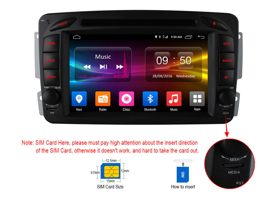 Clearance C500 4G SIM Android 6.0 8 Core 2GB RAM Car DVD Player RDS Radio GPS Map WIFI Bluetooth For Benz W163 W168 Viano Vito W463 W210 0