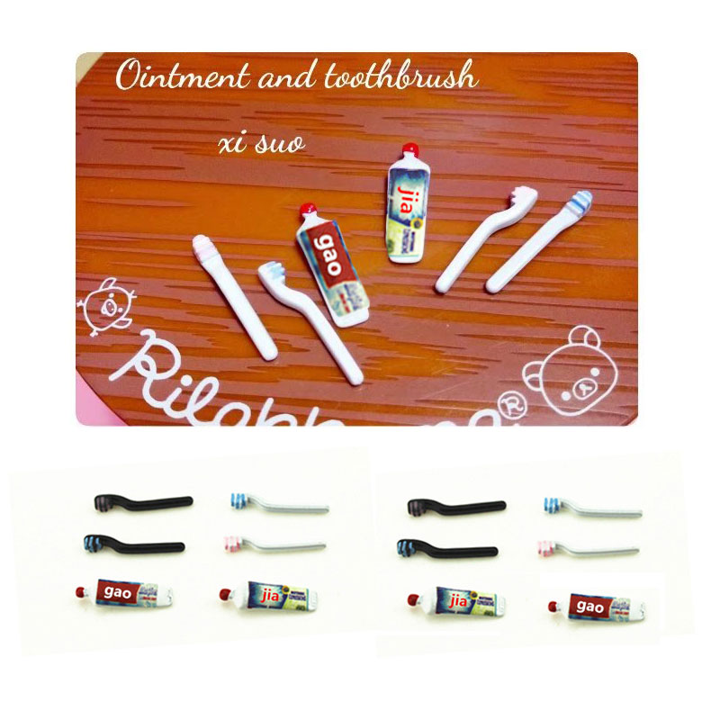 1:12 Dollhouse Miniature Mini Toothpaste Toothbrush Kitchen Toy Match For Sylvanian Families Collectible Gift 2019