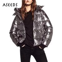 2017 Reversible Parka Jacket Women Warm Silver Metal Hooded Down Jacket Female Parkas Street Zipper Long