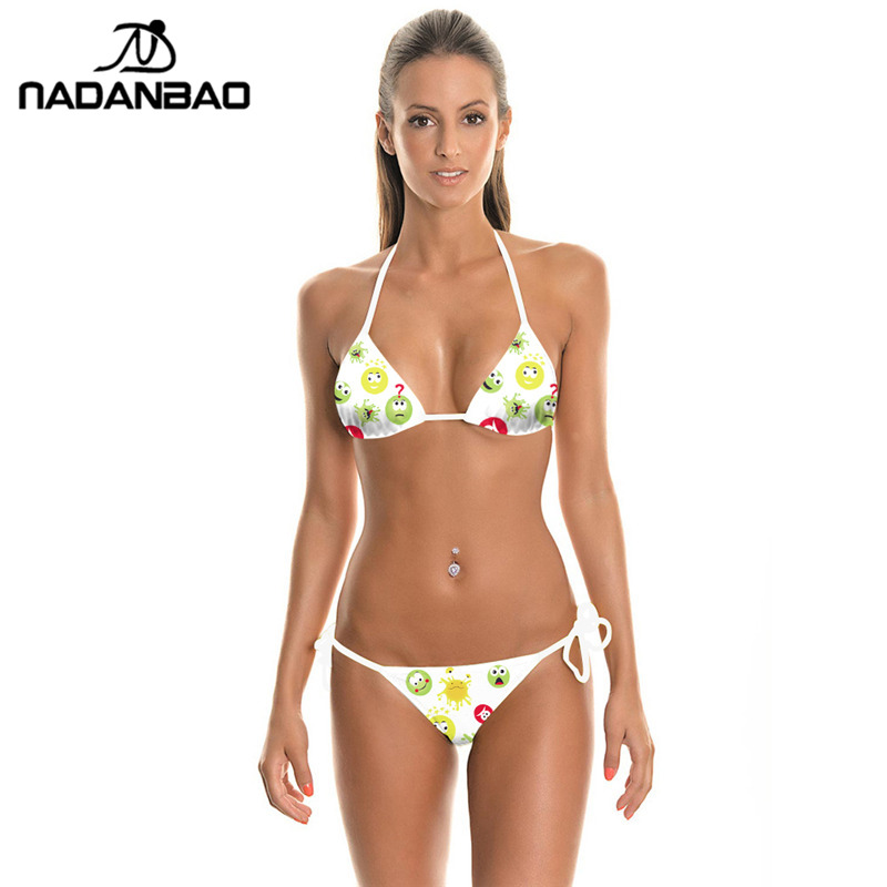 Sports & Entertainment Systematic Bikinis 2018 Mujesexy Women Swimwear Plavky Set Beach Wear Expression Package Printed Bikinis White Bathing Suit Swimsuit Y03030 Bikinis Set