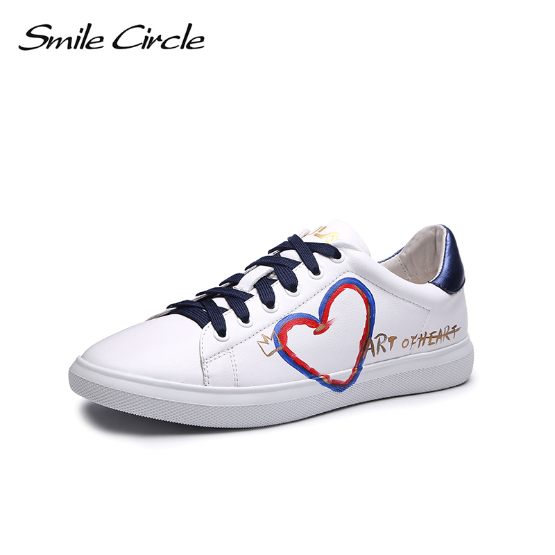 Smile Circle Genuine Leather Sneakers Women Lace-up Flat Shoes Women Fashion doodle White black casual shoes 2018 Sneakers smile circle genuine leather sneakers women lace up flat shoes women comfortable air cushion sneakers 2018 casual shoes