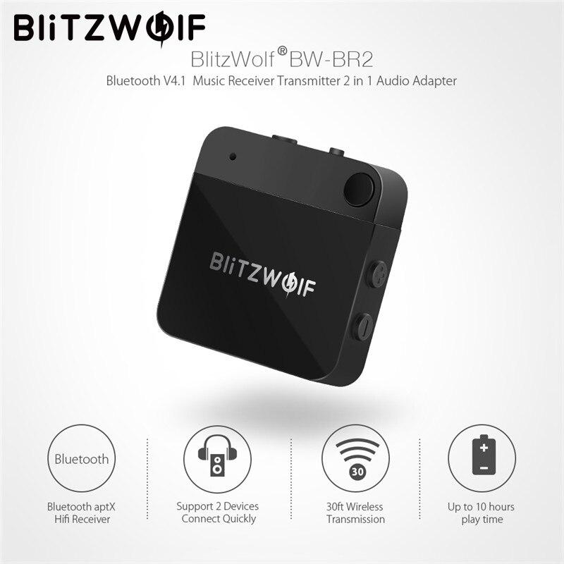 BlitzWolf Bluetooth V4.1 Musik Empfänger Sender APTX 3,5mm AUX Wireless Bluetooth Audio 2 In 1 Adapter Für Smartphone PC TV