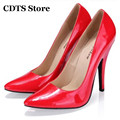 CDTS Crossdresser Zapatos 2016 classic solid color single shoes 10cm thin heels pointed toe  ol women's banquet formal pumps