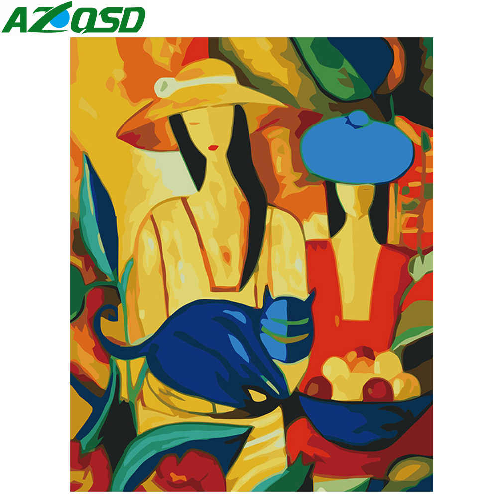 AZQSD Oil Painting Woman Painting By Numbers DIY Abstract Figure Home Decor Paint Canvas Picture Hand Painted Modern K118