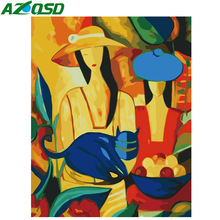 AZQSD Oil Painting Woman By Numbers DIY Abstract Figure Home Decor Paint Canvas Picture Hand Painted Modern K118