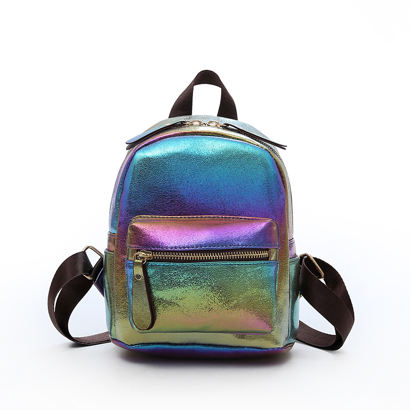 New Tide Women Bright Color Backpack Leather Girls Shoulder bag Leisure Travel School Bag for Teens Gift Fluorescent Bright Bags