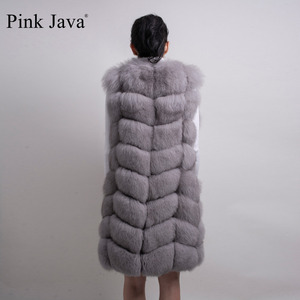 Image 4 - pink java QC8032 women coat winter luxury fur jacket real fox fur vest long vest natural fox gilet hot sale  high quality