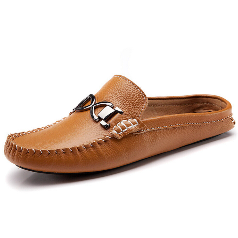 European sandals shoes - 2016 European Designer Brand Men Flats Slip On Slides Flat Sandals Handmade Genuine Leather Loafers Men