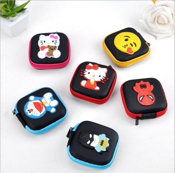 Cartoon Series Spidermen Supermen Square Rectangle Change Purse Earphone Pouch Case #1018 Coin Purse Gift Pouch For Girls Boys