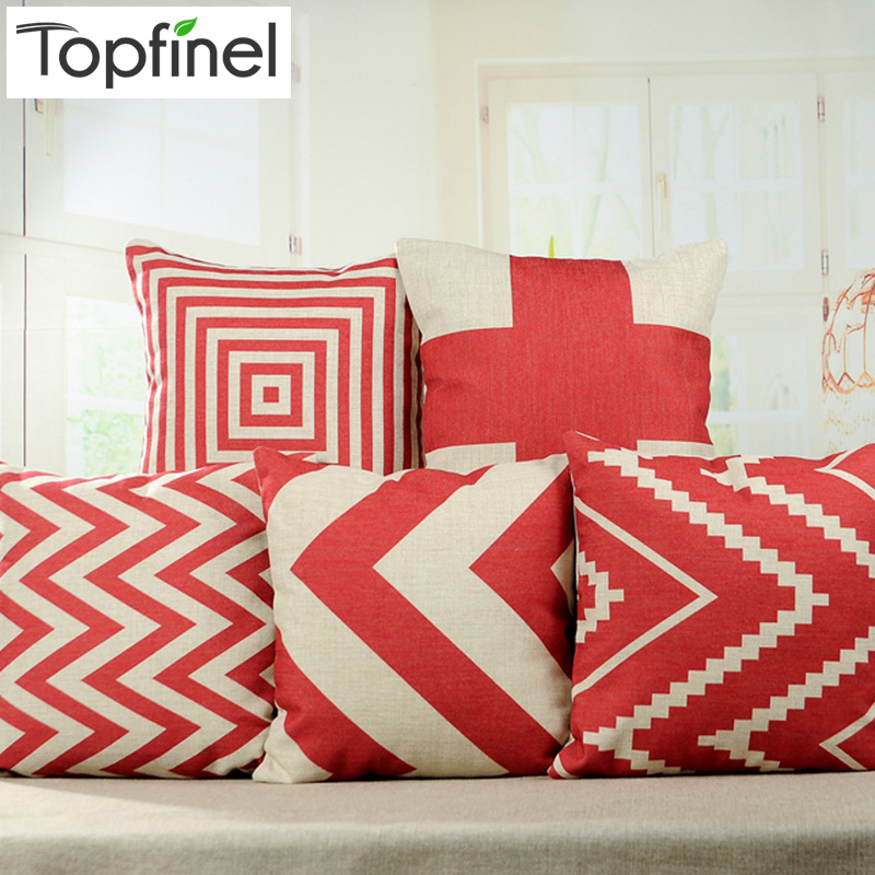 Top Finel Chevron Red Geometry Decorative Throw Pillows Case Linen for Sofa Car Cotton Cushion ...