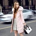 2016 Recién llegado de Down jacket Marca winter jacket women Parka Gruesa mujeres Pato Abajo Largo Mujer Chaqueta de Color Rosa Caliente Delgado Más Grande tamaño