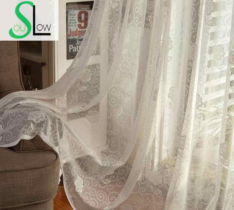 Slow Soul White Thin Curtain Fabric Flowers Pleated Europe Floral