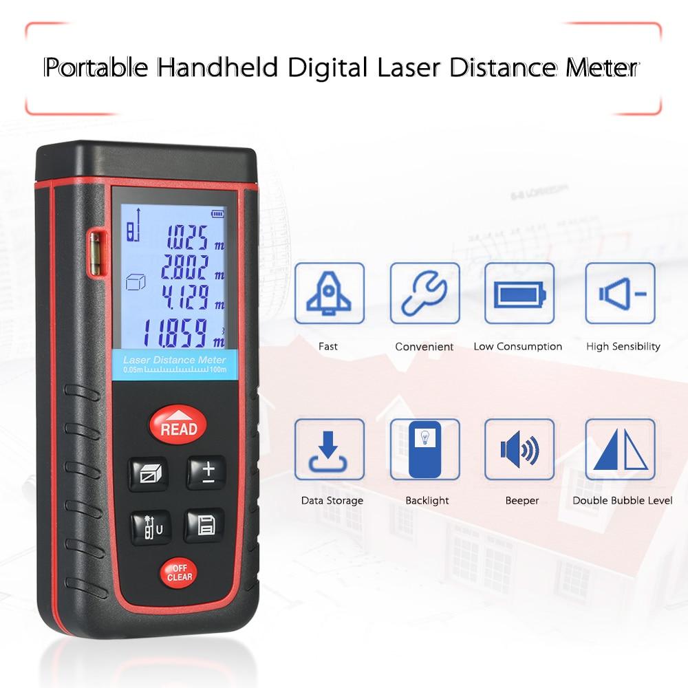 100 M Hoge Precisie Laser Afstandsmeter Mini Bouw Gereedschap Digitale Laser Afstandsmeter Laser Meetlint 30 Data Opslag
