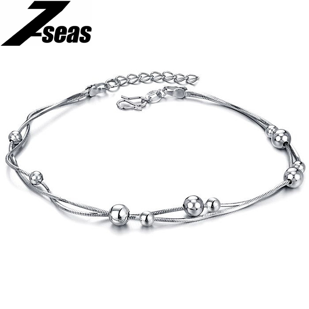 7seas New Arrival 2016 White Gold Color Anklet Snake Chain Beads Ankle  Bracelets For Ladies Girl