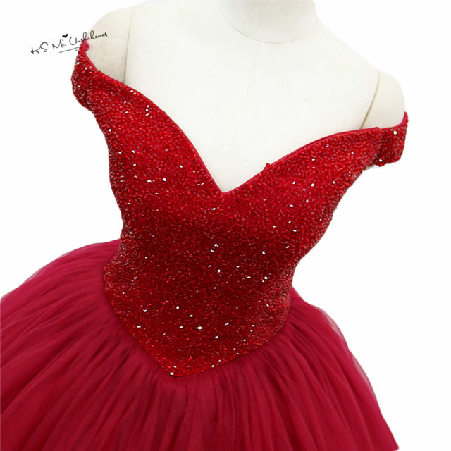 Turkey Luxury Red Wedding Dresses Cap Sleeve Beaded Burgundy Ball ...