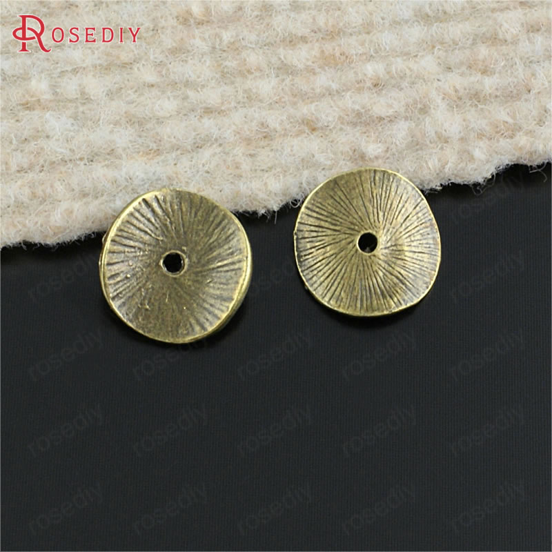 (20543)50PCS 15x14MM Gold Color Zinc Alloy Round Curved Brushed Disks Spacer Beads Diy Jewelry Findings Accessories Wholesale 2