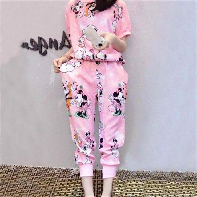 Из двух частей установить 2016 движения Перспективе печати Мультфильм Микки Слим 7 баллов брюки 2 шт. набор женщины harajuku шорты футболка женщины спортивный костюм женский костюмы женские спортивные костюмы женские