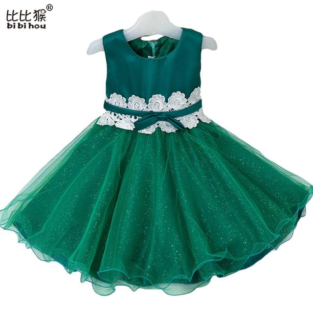 2-8yrs 6 Cores Quentes Meninas Vestido de Festa Para O Casamento E Aniversário Meninas Do Laço Da Flor vestido de Baile Crianças Roupas de Desempenho D0332