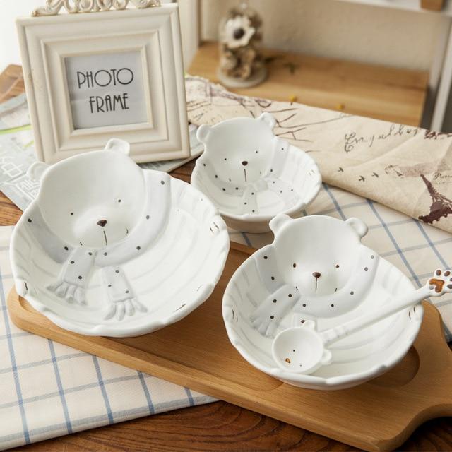 Марджана милые Мультяшные фрукты плиты изящный керамический набор мисок для обеда творческий белый медведь Керамика чаша Семья набор мисок