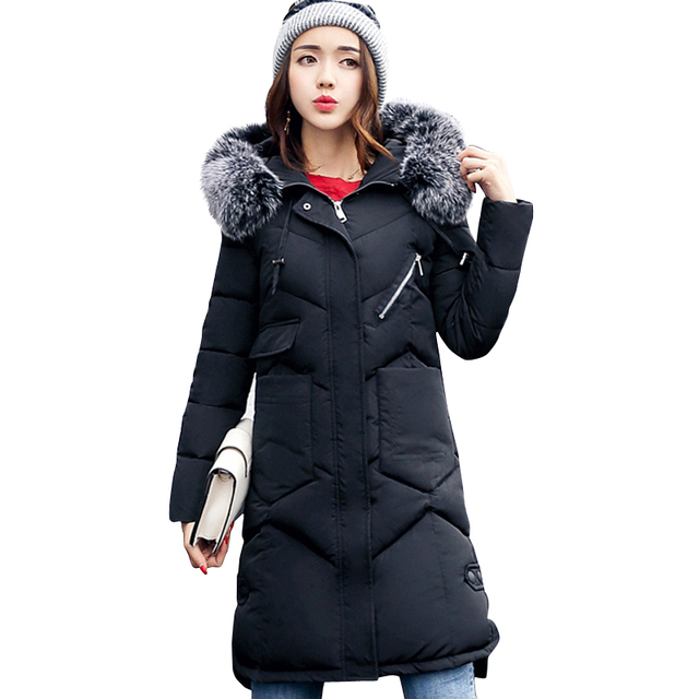 2018 winter women hooded coat fur collar thicken warm long jacket female plus size 3XL outerwear parka ladies chaqueta feminino 2
