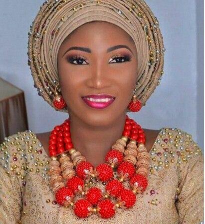 2018 Dubai or déclaration collier ensemble charmes 3 couches femmes corail perles africaines bijoux ensemble réel perles de corail pour les mariées ABH762 - 3