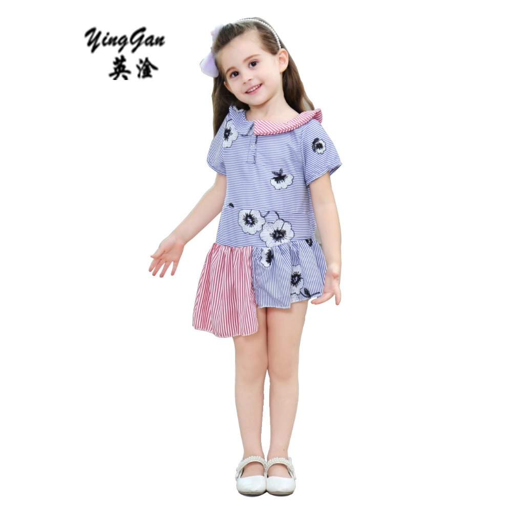 New Girls Dress Wedding Party Kids Toddler Girl Dresses Irregular princess Dress  Summer Baby Cute Striped Clothing Clothes 2-8y