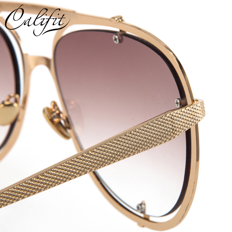 bf9fac2d782 CALIFIT Fashion Design Sunglasses Men Double Gold Frame Pilot Shades Male  Brand Gradient Driving Sun Glasses Oculos 2018 New-in Sunglasses from  Apparel ...