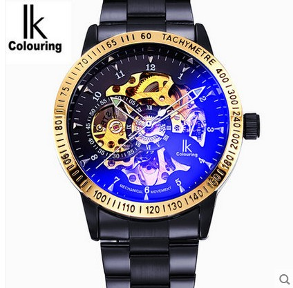 New 2016 IK Colouring Fashion font b Mechanical b font Skeleton Watch Auto Stainless Steel font