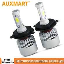 Auxmart H4 H7 H11 9005 9006 H1 COB Car LED Headlight Bulbs Hi-Lo Beam 72W 8000LM 6500K/4300K Auto Led Headlamp Car Light 12v 24v(China)