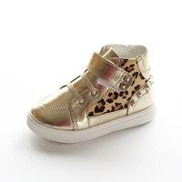 Çocuk Ayakkabıları Kız Erkek Rahat Ayakkabılar Moda Leopar Baskı Rahat Karakter Perçin Dantel kadar Çizmeler Toddler Yüksek Topuk Ayakkabı