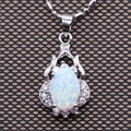 Trendy Jewelry White Gold Plated Necklace Pendant Inlay White Fire Opal AAA Cubic Zirconia Pendant