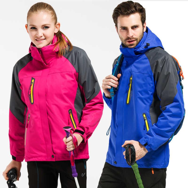 Yeni erkekler Kadınlar Kış ceket yürüyüş ceket kadınlar açık Termal polar Rüzgarlık erkek su geçirmez kadife parkas ceketler rüzgar geçirmez