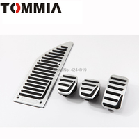 TOMMIA For Ford Focus Kuga Lincoln MKC AT MT Car Pedal Footrest Brake And Gas Pedal Pad Alumimum Alloy 3Pcs