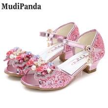 MudiPanda Sandalias Rosa para niñas 2018 primavera nueva moda niña princesa sandalias arco zapatos de tacón alto niñas cabeza de pescado zapatos para niños