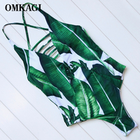 OMKAGI Brand Floral One Piece Swimsuit Swimwear Women Sexy Push Up Monokini Hollow Out Bodysuit Swimming