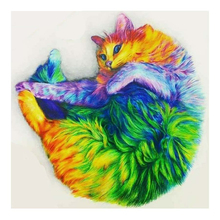Colorful Cat DIY Dimoand Painting Mosaic Full Square Drills Animal Pet Series Craft Gift Home Decoration