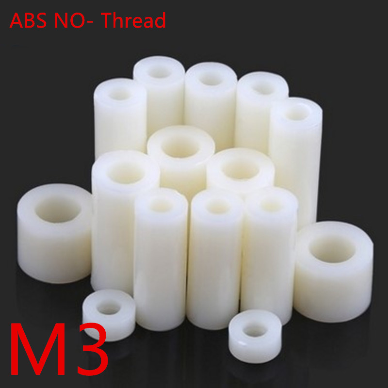50pcs M3*2/3/4/5/6/7/8/9/10/11/12/13/14/15 ABS Rround spacer standoff White Nylon Non-Threaded Spacer Round Hollow Standoff 14 15 3 2015
