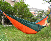 Double Person Portable High Strength Parachute Fabric Camping Hammock Hanging Bed With Mosquito Net Sleeping Hammock