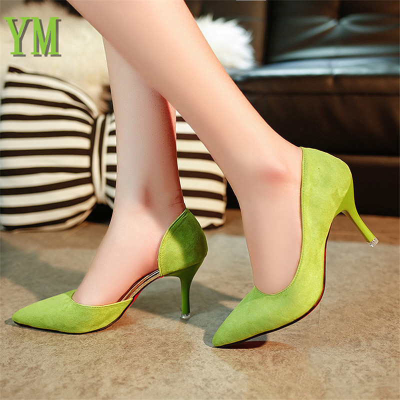 2018 Hot Sale Women Pumps Thin Heels Fashion High Heels Shoes Black/ Pink /Grey/Green Shoes Women Bridal Wedding Shoes Ladies