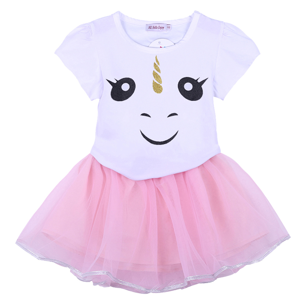 Toddler Kids Baby Girls Dress Set Cartoon Unicorn Lace Shirt Tops Tutu Skirt Dress Outfit Clothes Set Sleeveless Patch Shirts infant toddler kids baby girls summer outfit cotton striped sleeveless tops dress floral short pants girls clothes sunsuit 0 4y