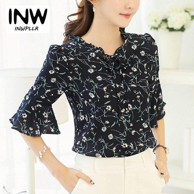 28851b61545c54 2018 sommer Frauen Blusen Und Tops Blumendruck Chiffon Bluse Bogen Kurzarm  Female Shirts Plus Size Blusas