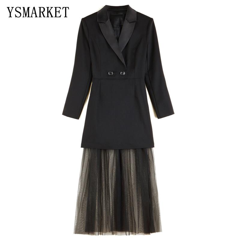 Nouveau printemps automne costume col à manches longues Net fil couture robe femmes Midties Slim bureau dames élégant Sexy femme Dresse