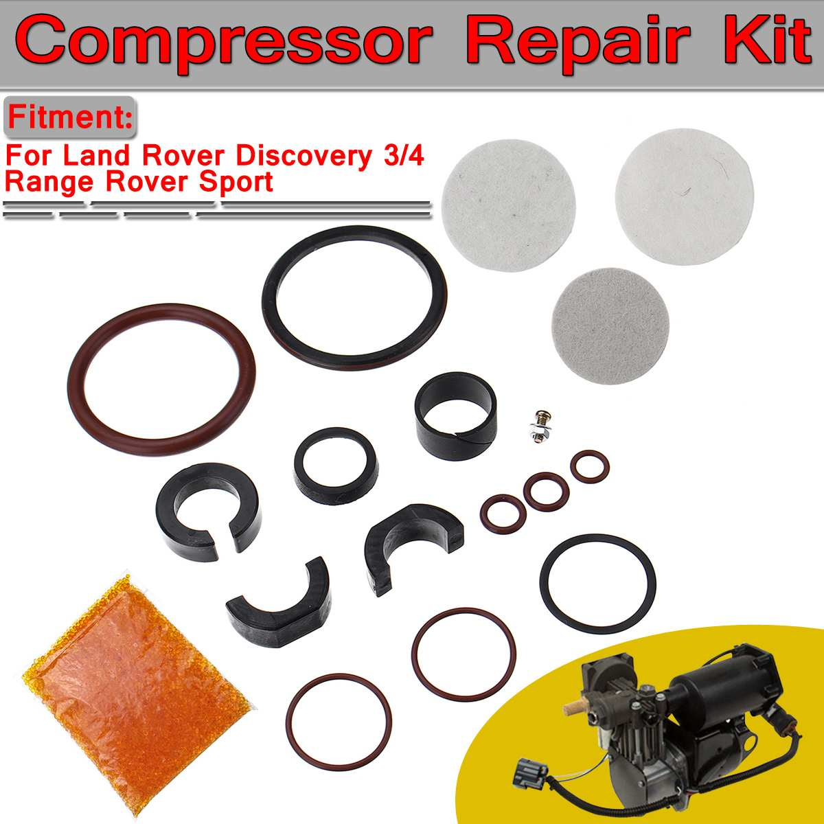 Auto Luchtvering A/C Compressor Reparatie Kit Voor Land Rover Discovery 3/4 Range Rover Sport RQG000017 RQG000018 RQG000019