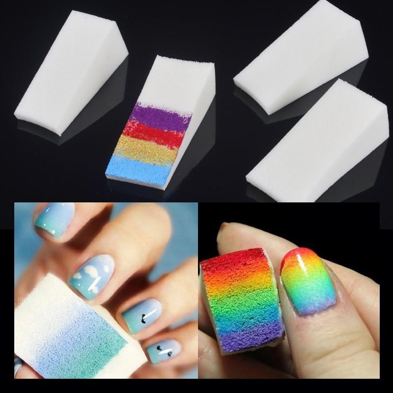 Two Tone Nail Polish Fade: Wholesale 50Pcs Gradient Nails Soft Sponges For Nail