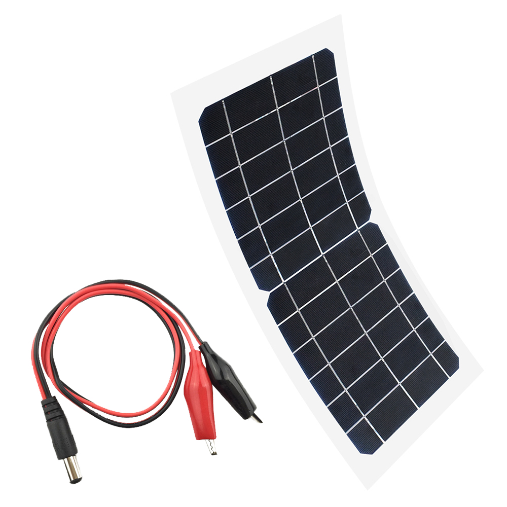 Flexible <font><b>5V</b></font> 6V <font><b>10W</b></font> portable <font><b>solar</b></font> <font><b>panel</b></font> Charger Car Automobile Motorcycle Boat <font><b>panels</b></font> <font><b>solar</b></font> cell DC Alligator clips Connector image